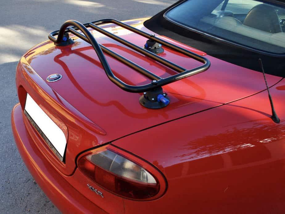 revo rack jaguar xk8 luggage rack in black on red xk8