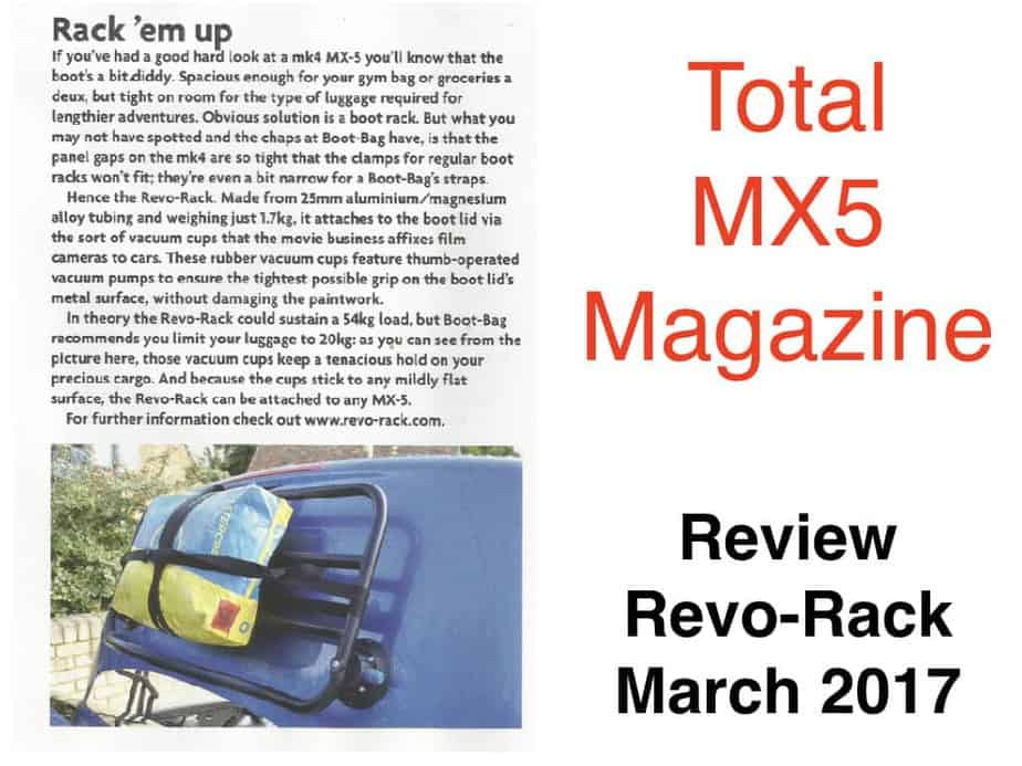 review of revo-rack by total mx5 magazine