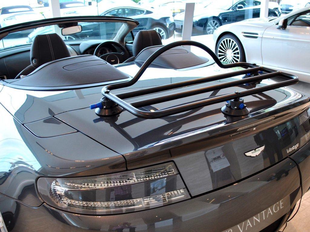 Aston Martin Volante Luggage Rack fitted to a grey vantage volante at aston martin newport pagnall