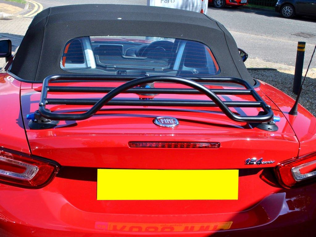 Fiat 124 Luggage Rack fitted to a red fiat 124 spider in sunshine