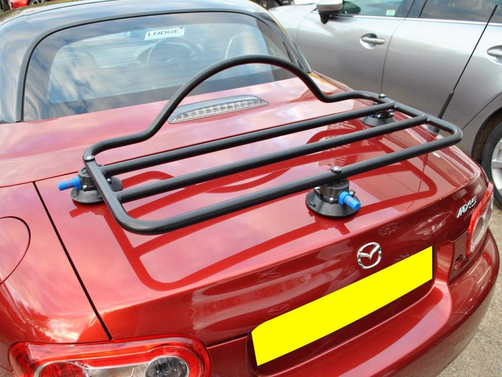 Mazda MX5 Roadster Coupe Luggage Rack in black on rd roadster coupe mk3 mx5