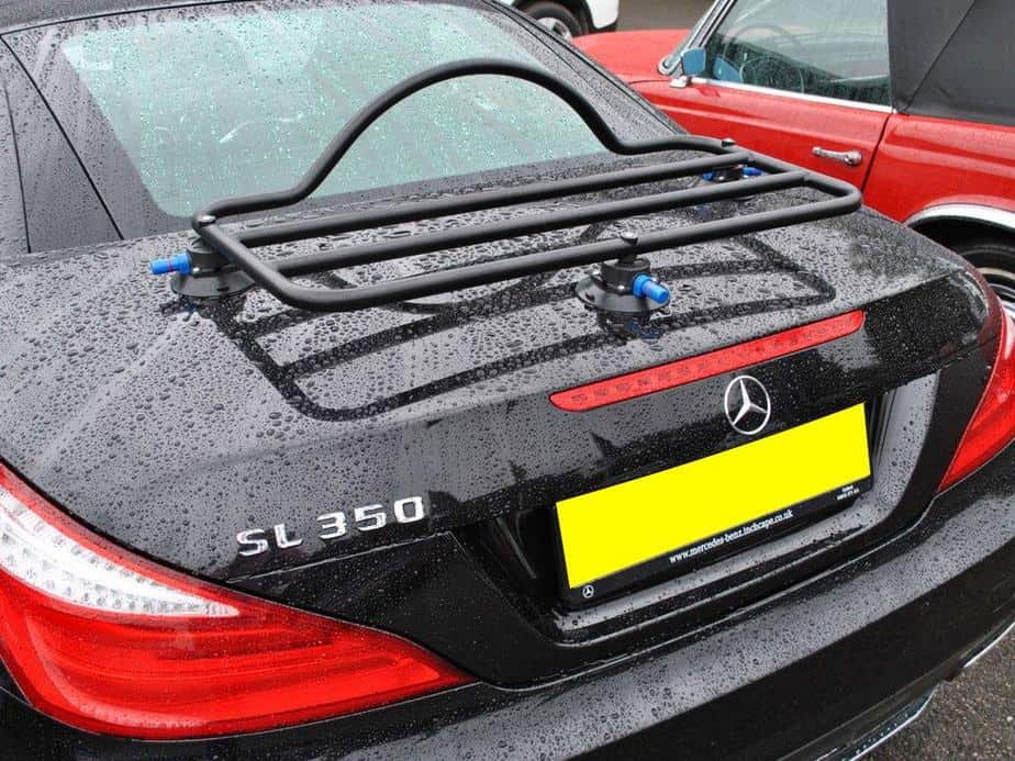 Revo-Rack luggage rack in black fitted to a black r231 mercedes benz sl