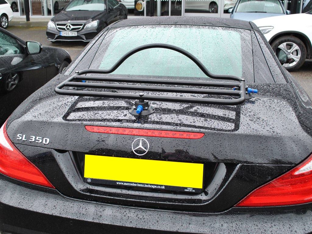 Mercedes SL Luggage Rack in black fitted to a black r231 sl