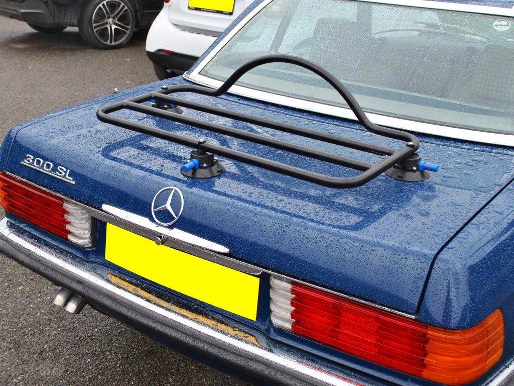 Mercedes SL R107 Luggage Rack revo rack fitted to a blue sl