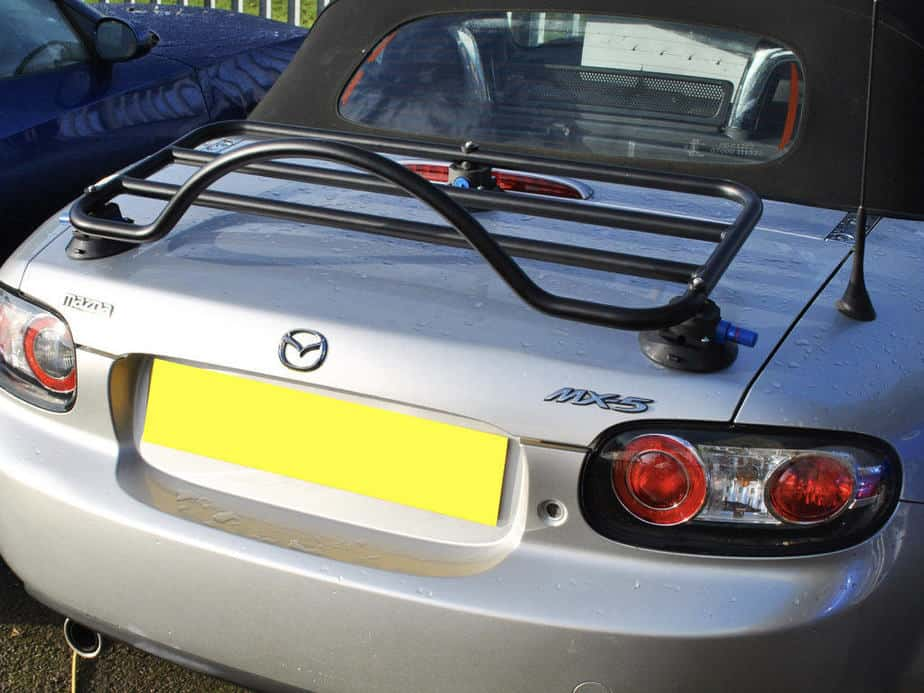 mx5 mk3 boot rack in black fitted to a silver mk3 mx5
