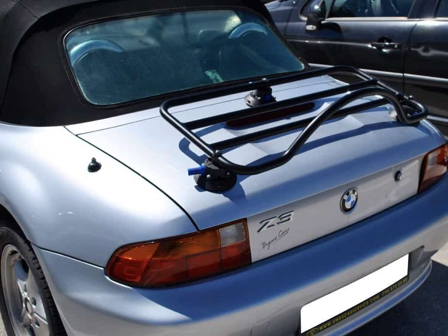 black luggage rack fitted to silver bmw z3
