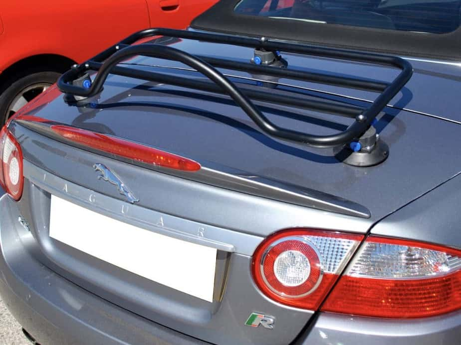 side view of boot rack fitted to a silver jaguar xk cabriolet