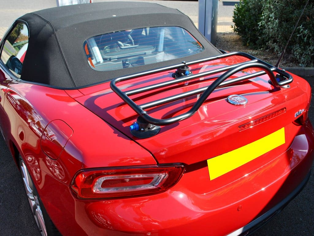 revo-rack luggage rack fitted to a red fiat 124 spider 2017 model