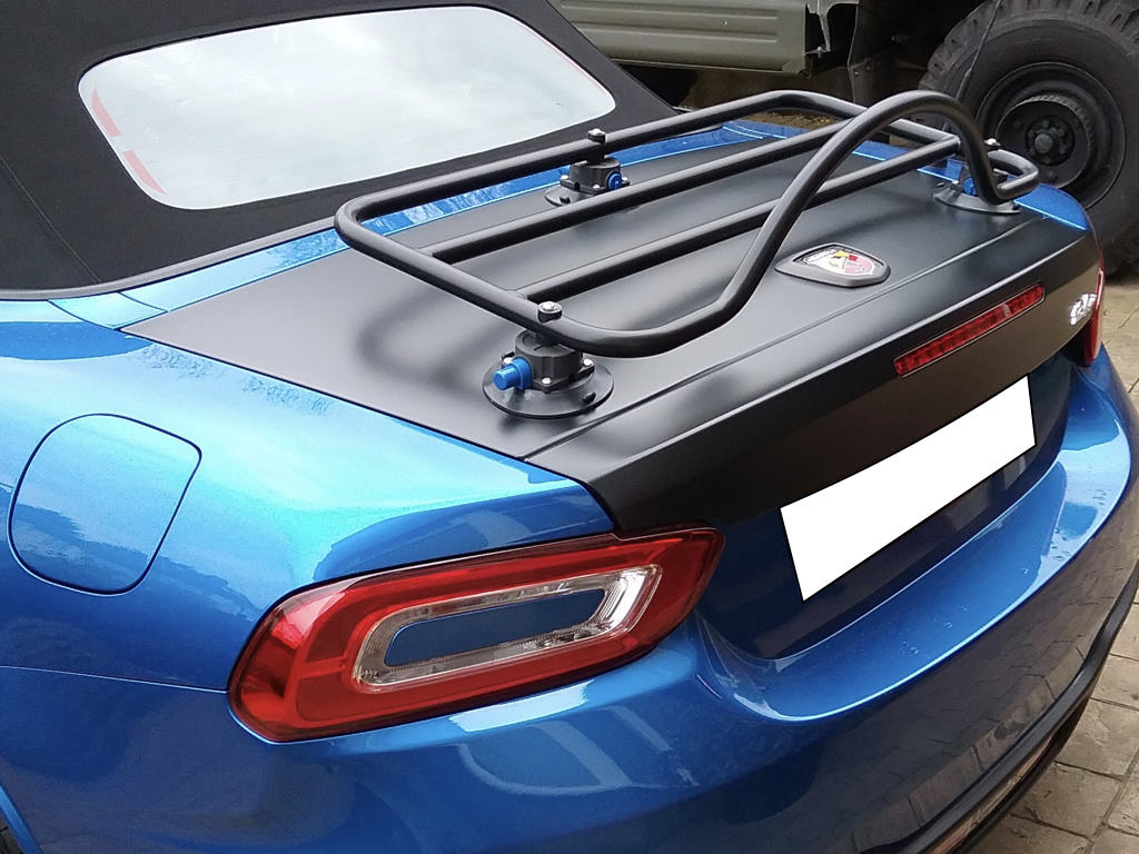 revo-rack luggage rack fitted to a blue fiat 124 abath spider