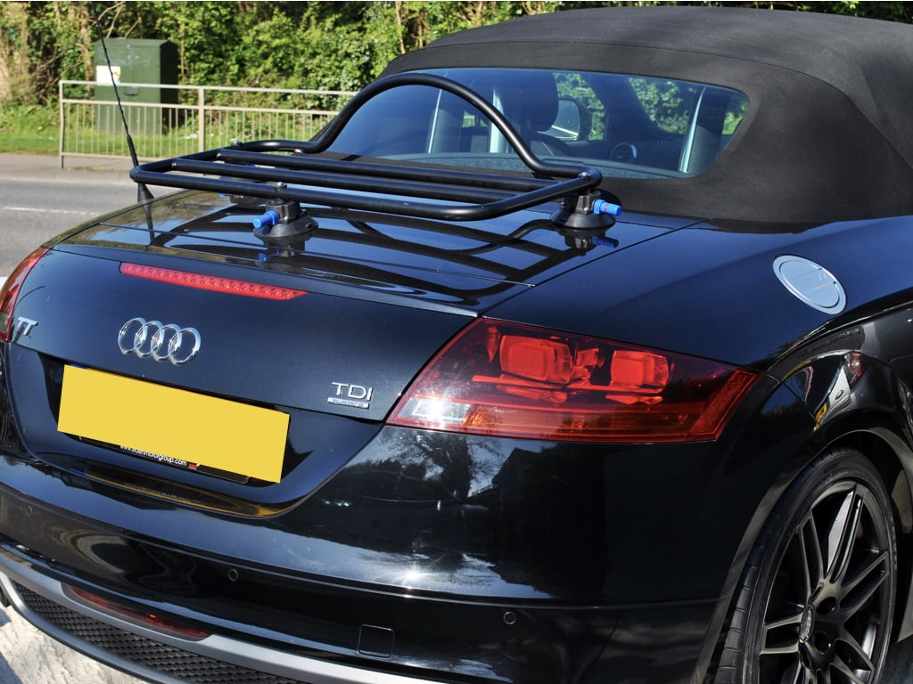 Audi TT MK2 roadster in black with a luggage rack fitted