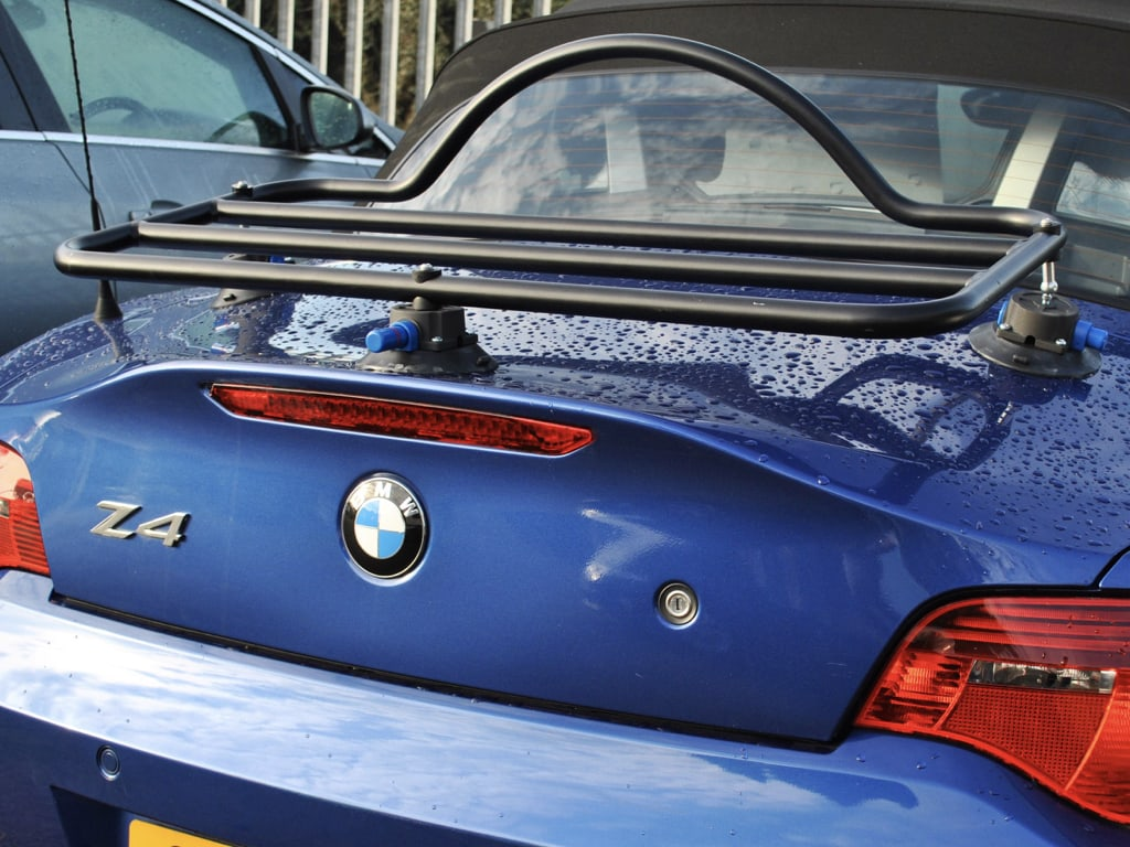 BMW Luggage Rack Z4 E85 MK1 in black fitted to a blue z4 close up