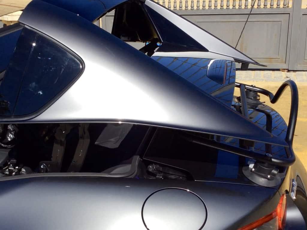 mazda miata rf luggage rack roof in operation with revo rack luggage rack fitted