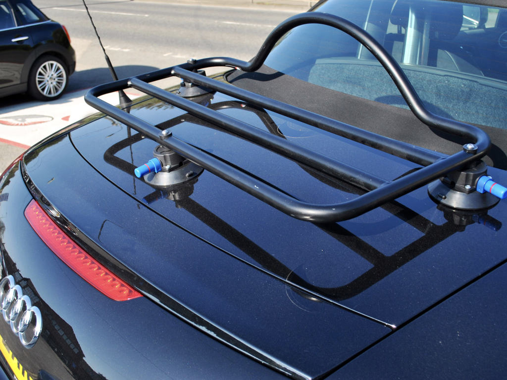 Audi TT MK2 Convertible Luggage Rack in black fitted to a black tt