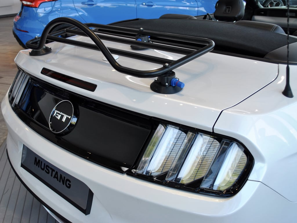 mustang convertible luggage rack fitted to a white mustang