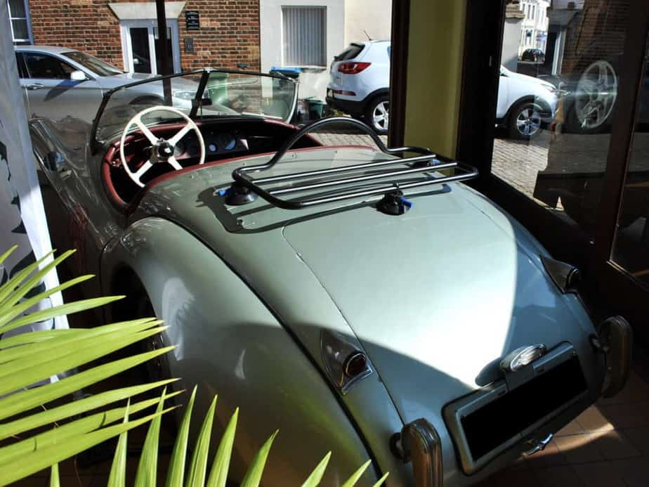 jaguar xk120 in green with revo rack luggage rack fitted