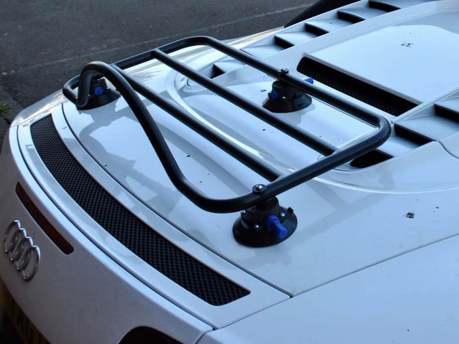 Photo of an Audi R8 with a revo-rack luggage rack fitted