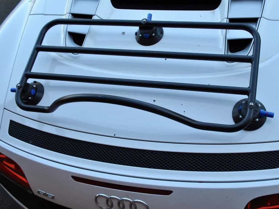 Aerial view of a revo-rack luggage rack fitted to an Audi r8