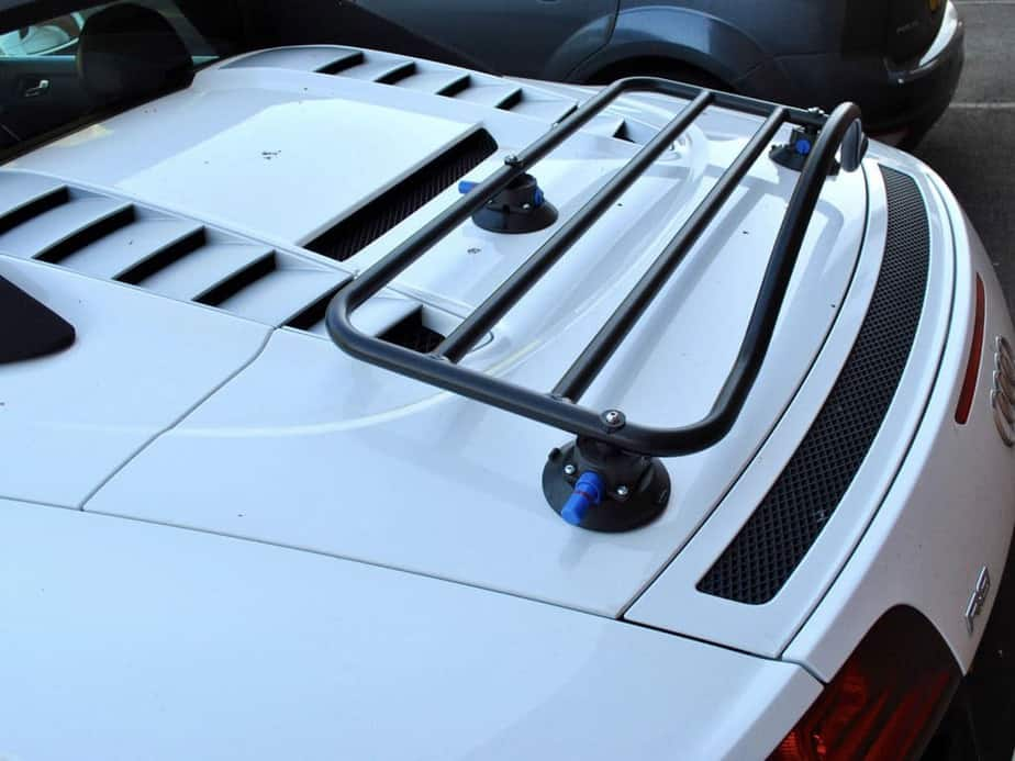white audi r8 spyder with a revo-rack luggage rack fitted