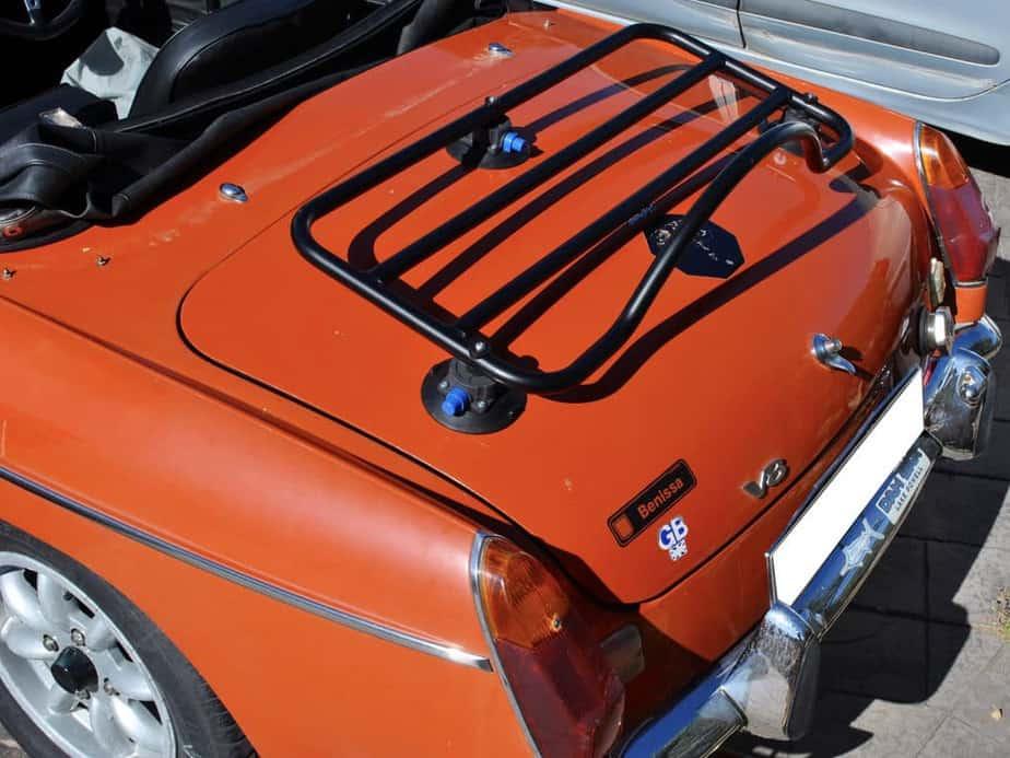 MGB Luggage Rack in black on an orange mgb