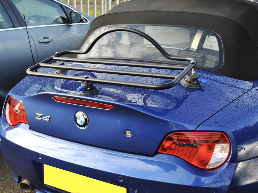 luggage rack for the bmw a4 e85 in black fitted to a blue z4
