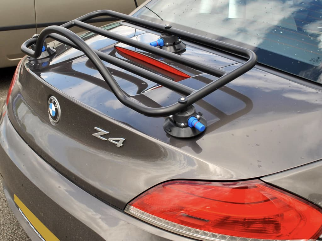 black luggage rack fitted to a silver grey bmw z4 e89