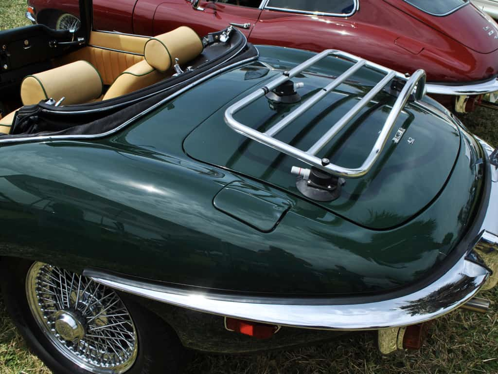 jaguar e type stainless steel chrome trunk luggage rack