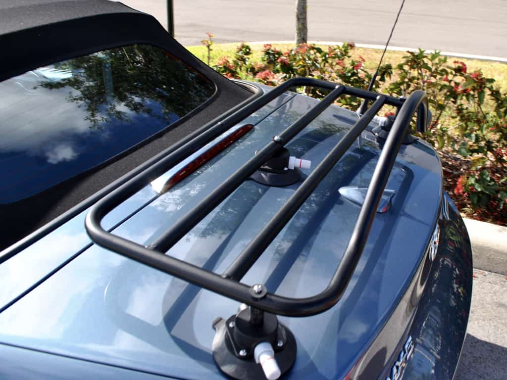 revo rack black luggage rack fitted to bright blue mx5 nd in the florida sunshine