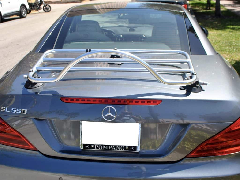 silver luggage rack on dark grey mercedes sl r230