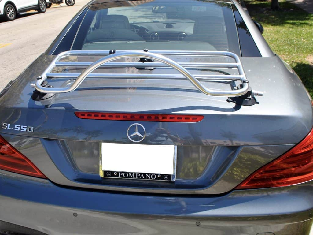 stainless steel luggage rack fitted to grey r230 sl