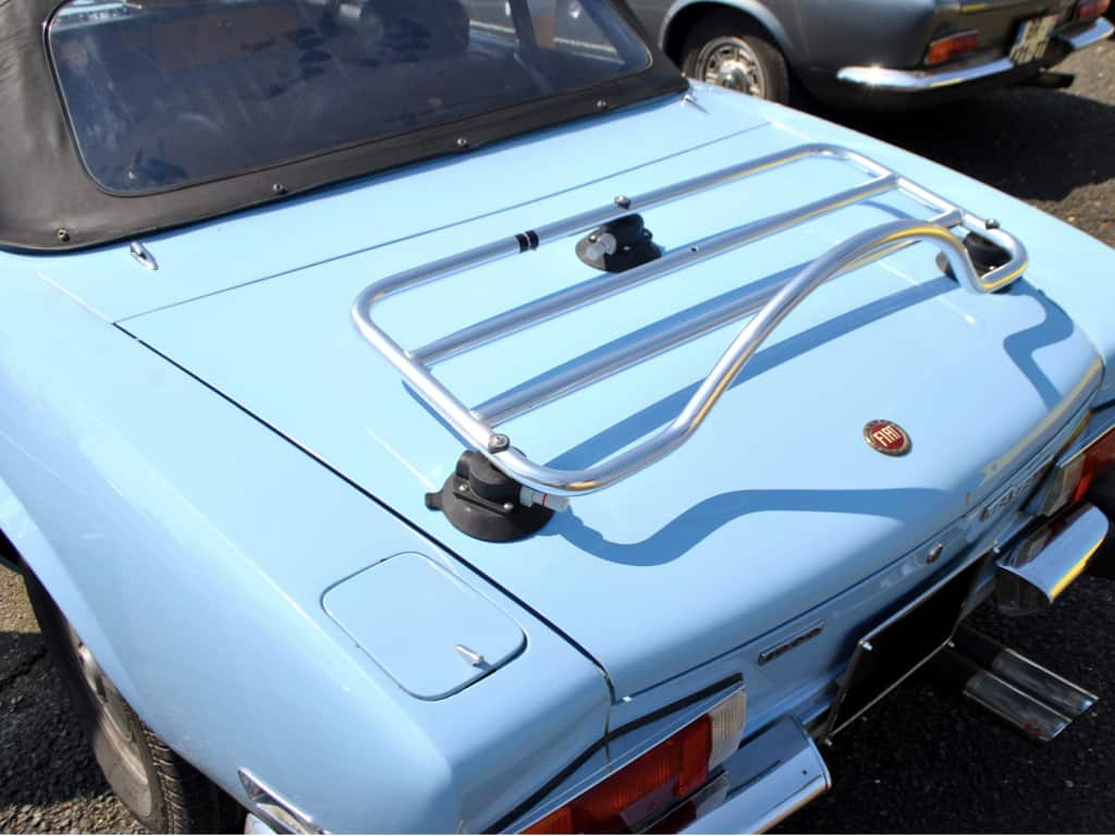 chrome luggage rack fitted to a 1966-1982 classic fiat 124 spider