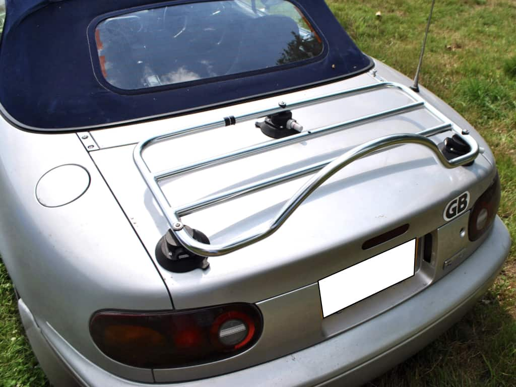 mazda mx5 mk1 in silver with a revo rack luggage rack in chrome fitted