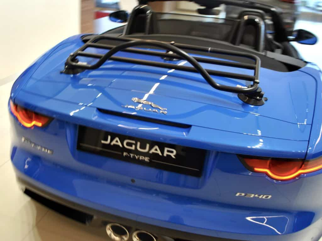 black luggage rack fitted to f type jaguar convertible