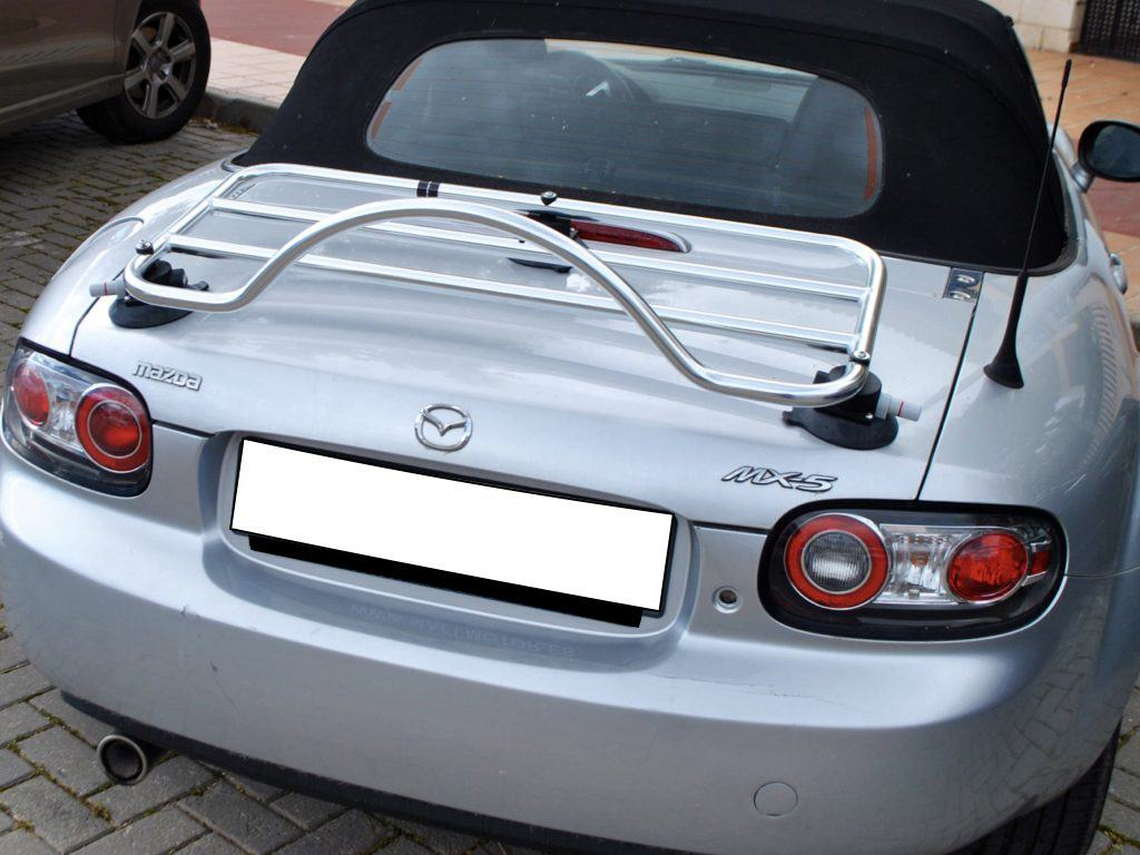 mazda miata nb stainless steel luggage rack on silver nb miata