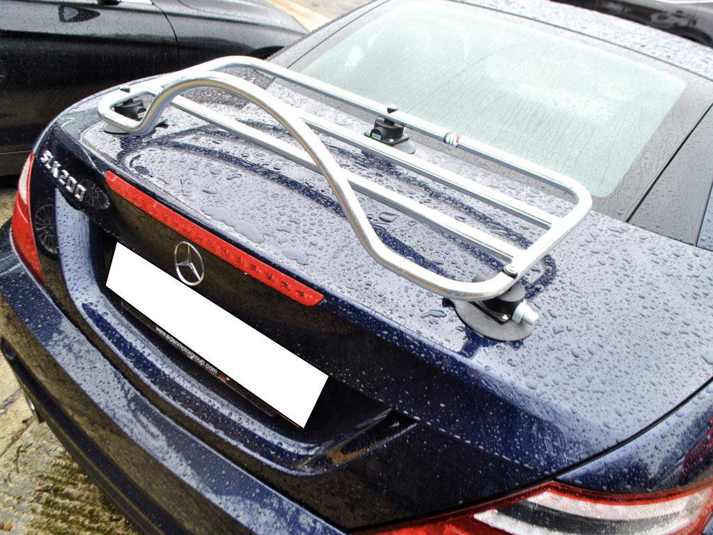 chrome luggage rack fitted to a blue mercedes benx slk 200