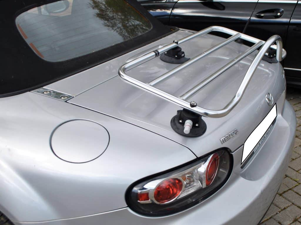 mazda mx5 mk3 stainless steel luggage rack fitted to a silver mk3 mx5