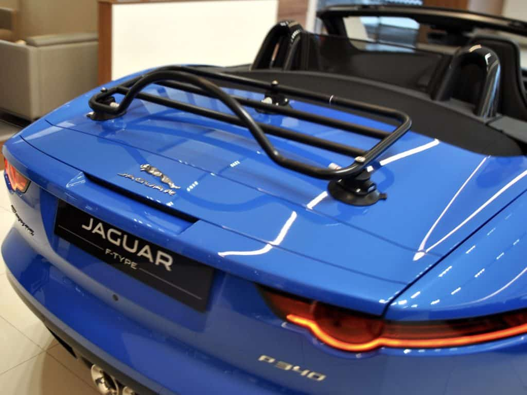 Revo-Rack black luggage rack fitted to blue jaguar f type
