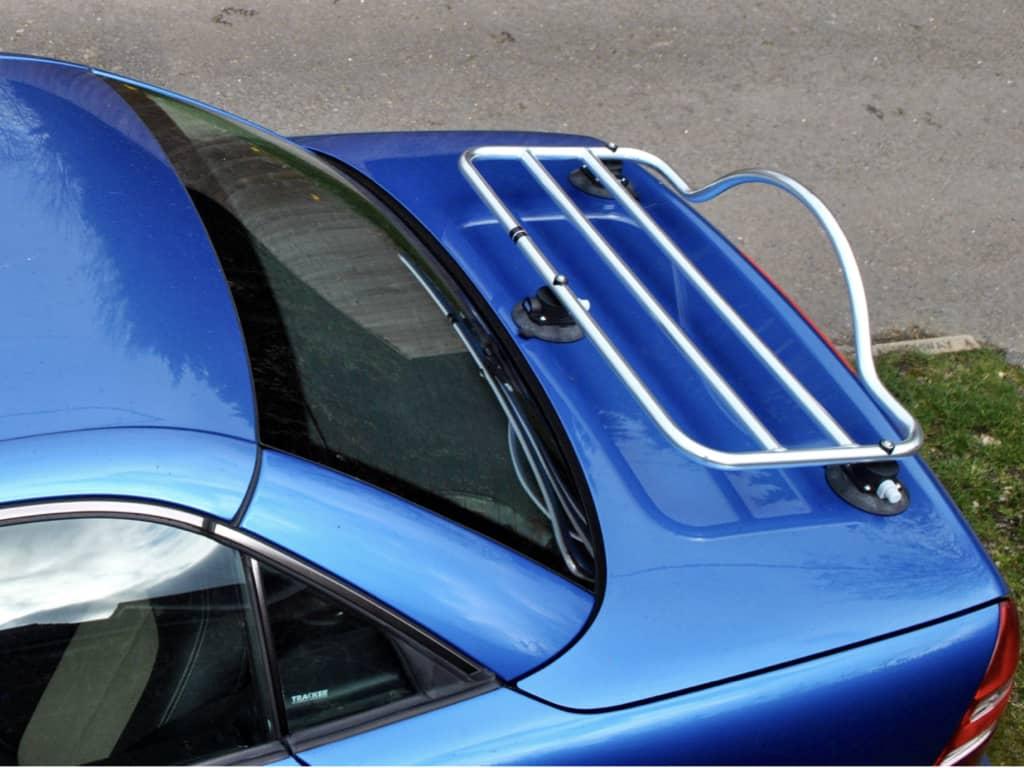 chrome luggage rack fitted to a blue mercedes benz slk r170 200 kompresssor