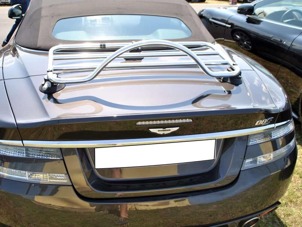 gris aston martin db9 cabriolet avec porte-bagages en acier inox