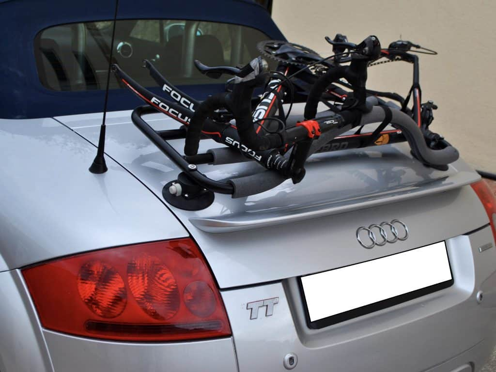 convertible and roadster bike rack fitted to silver audi tt convertible