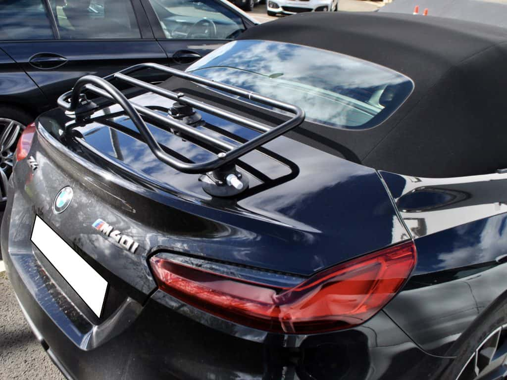 bmw z4 g29 in black with a revo-rack luggage rack fitted on a sunny day