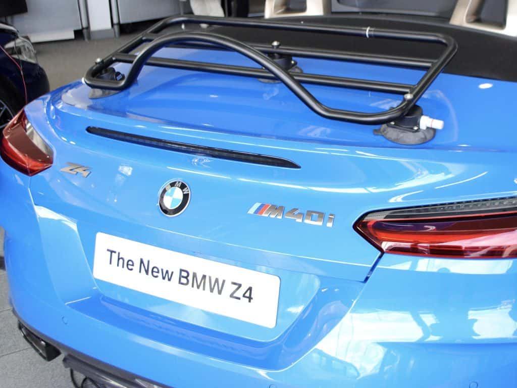 bmw z4 2019 G29 luggage rack revo rack fitted to a blue z4
