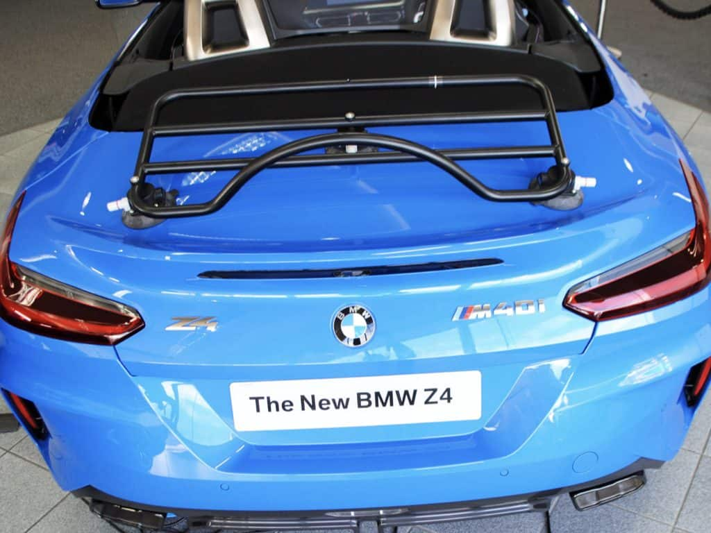 revo rack luggage rack fitted to a bright blue bmw z4 g29