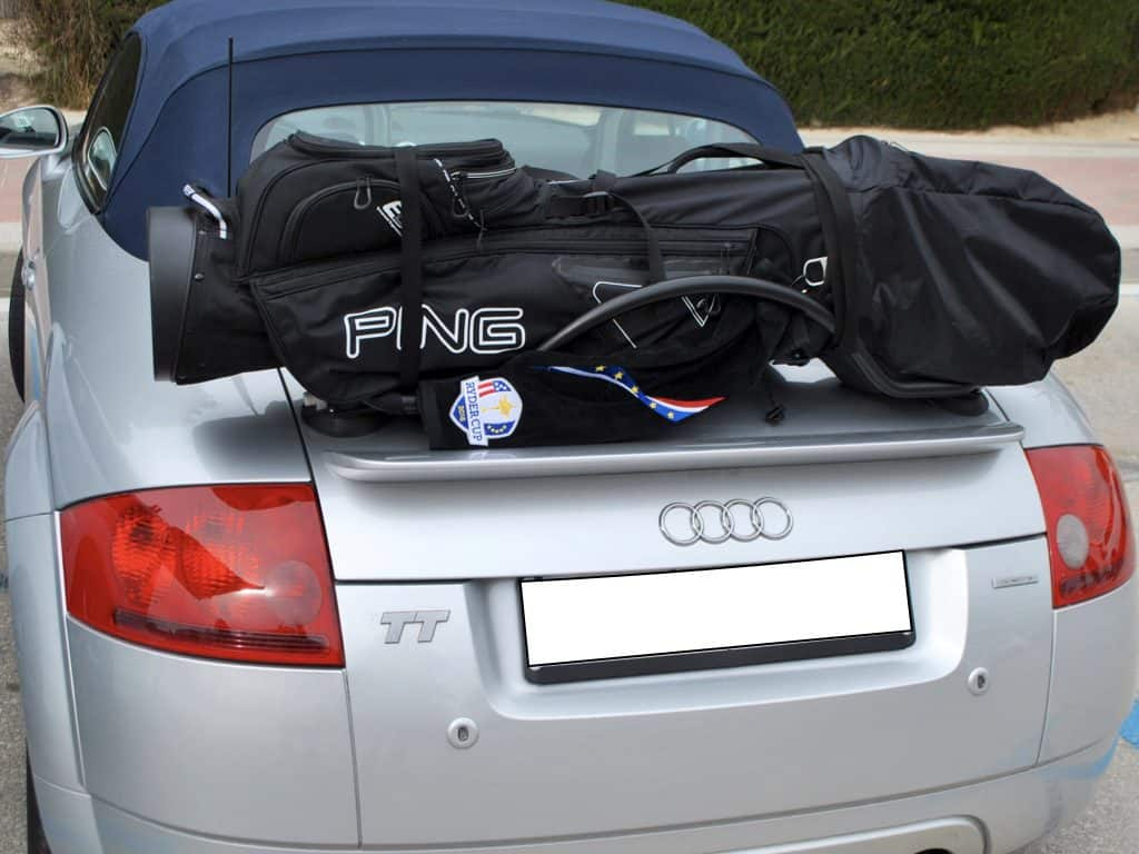 convertible golf club carrier rack fitted to a silver Audi TT Roadster