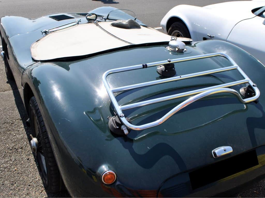 jaguar d type with a stainless steel luggage rack fitted