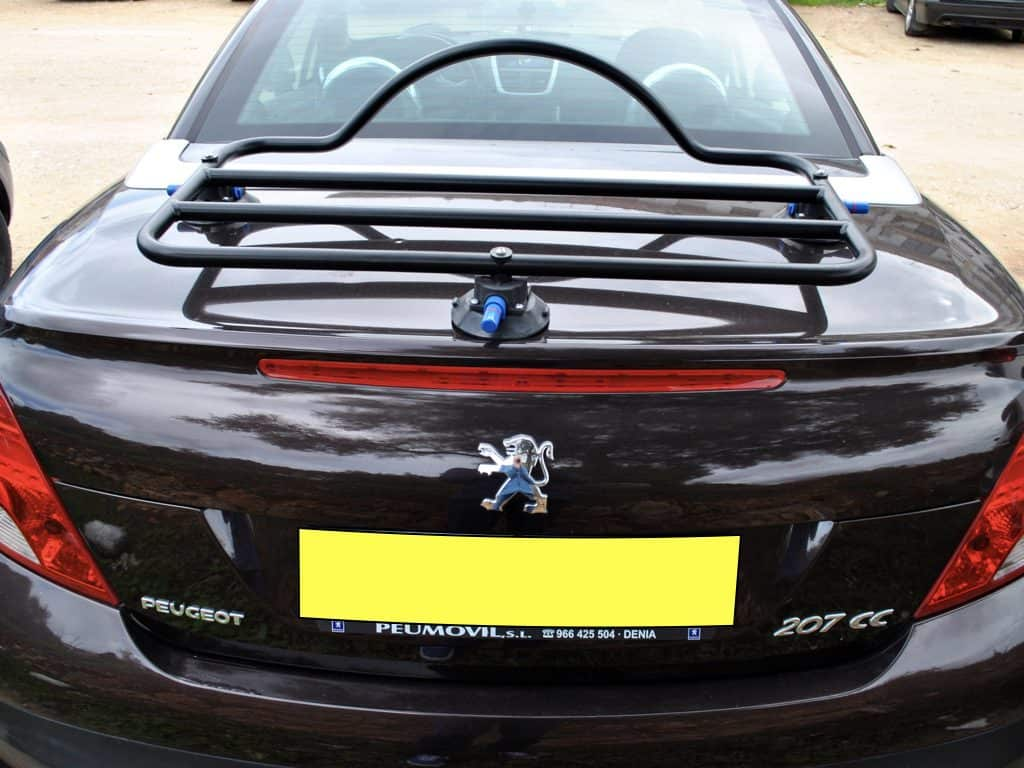 Peugeot 207cc boot rack in black fitted to a black 207cc