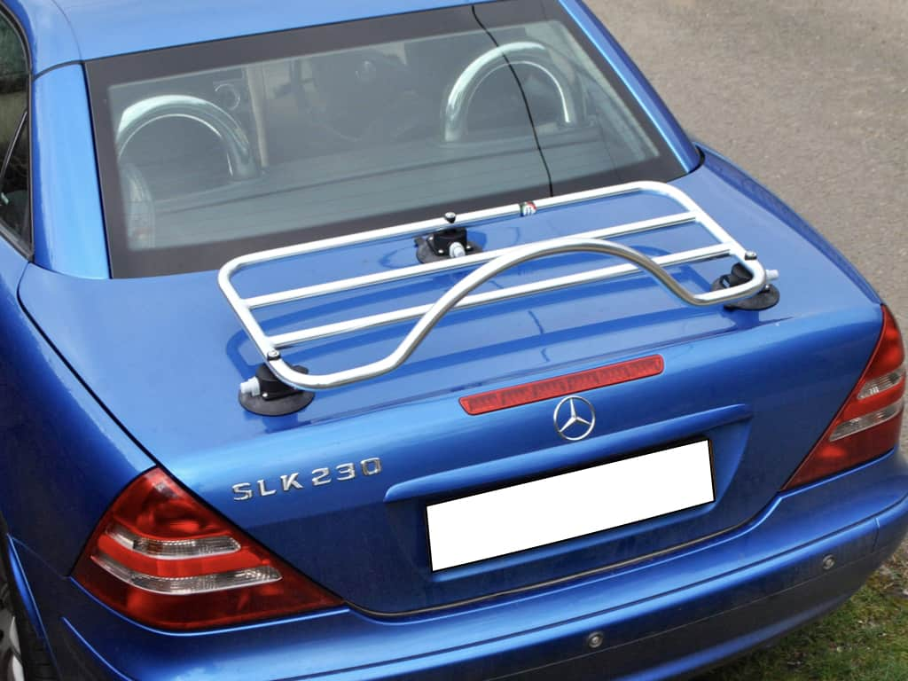 stainless steel luggage rack fitted to a blue mercedes benz slk r170 taken from above