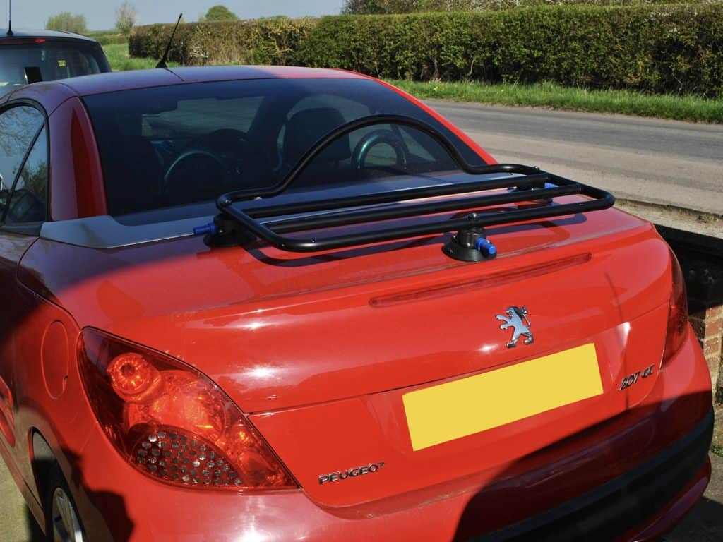 peugeot 207cc luggage rack fitted to a red 207cc