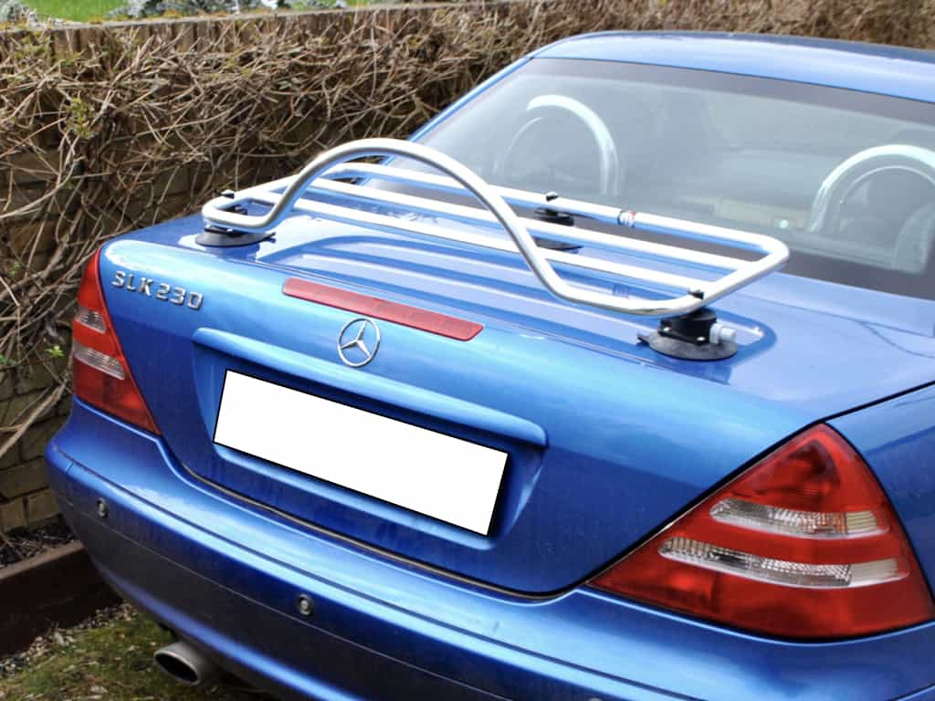 boot rack fitted to a blue mercedes slk r170
