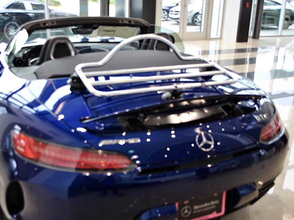 mercedes amg gt convertible luggage rack on a blue amg gt at mercedes fort Lauderdale