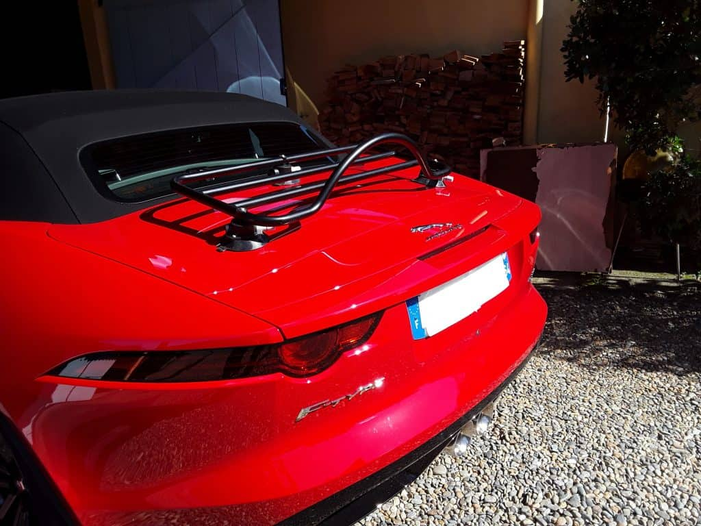 red jaguar f type with a revo-rack black luggage rack fitted